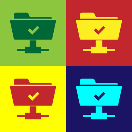 Color FTP operation successful icon on color backgrounds. Concept of software update, transfer protocol, teamwork tool management, copy process. Flat design. Vector Illustration