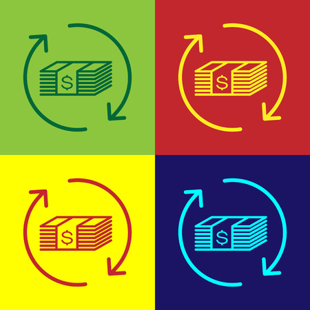 Color Refund money icon isolated on color backgrounds. Financial services, cash back concept, money refund, return on investment, savings account. Flat design. Vector Illustration  イラスト・ベクター素材