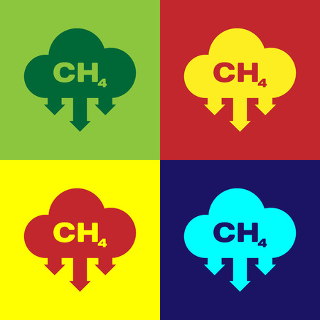 Color Methane emissions reduction icon isolated on color backgrounds. CH4 molecule model and chemical formula. Marsh gas. Natural gas. Flat design. Vector Illustration Ilustração