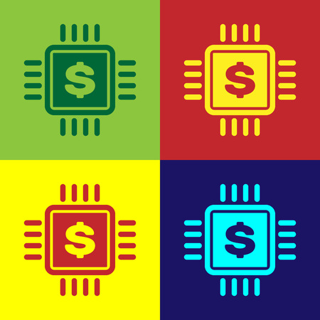 Color Processor chip with dollar icon isolated on color backgrounds. CPU and a dollar sign. Vector Illustration