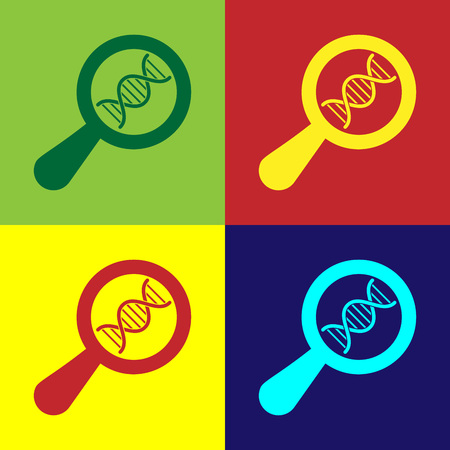 Color DNA research, search icon isolated on color backgrounds. Magnifying glass and dna chain. Genetic engineering, cloning, paternity testing. Vector Illustration Ilustração
