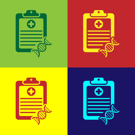 Color Clipboard with DNA analysis icon isolated on color backgrounds. Genetic engineering, genetics testing, cloning, paternity testing. Vector Illustration