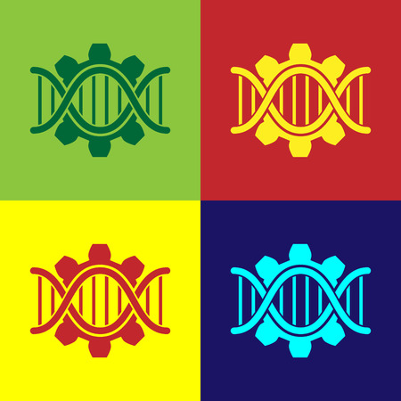Color Genetic engineering icon isolated on color backgrounds. DNA analysis, genetics testing, cloning, paternity testing. Vector Illustration Ilustração