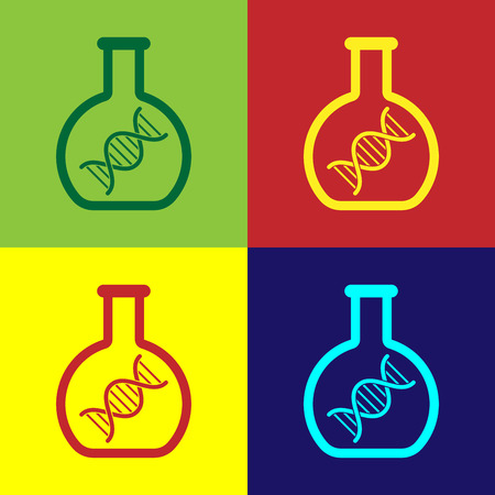 Color DNA research, search icon isolated on color backgrounds. Genetic engineering, genetics testing, cloning, paternity testing. Vector Illustration