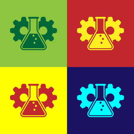 Color Bioengineering icon isolated on color backgrounds. Element of genetics and bioengineering icon. Biology, molecule, chemical icon. Vector Illustration Vettoriali