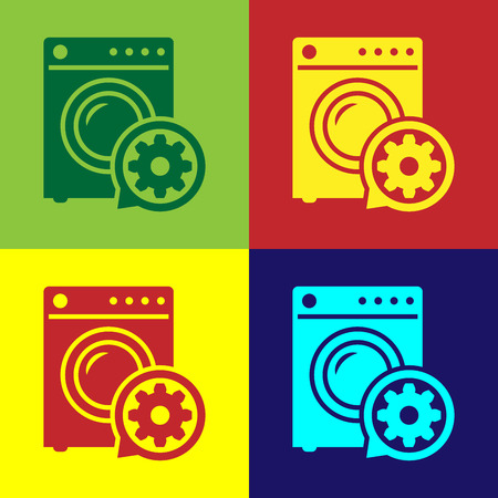 Color Washer and gear icon isolated on color backgrounds. Adjusting app, service concept, setting options, maintenance, repair, fixing. Vector Illustration