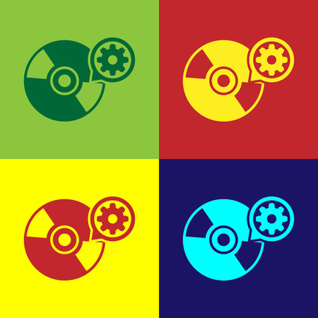 Color CD or DVD disk and gear icon isolated on color backgrounds. Adjusting app, service concept, setting options, maintenance, repair, fixing. Vector Illustration