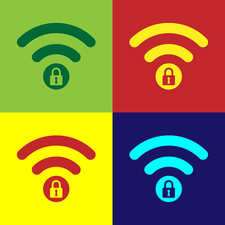 Color Wifi locked sign icon isolated on color backgrounds. Password Wi-fi symbol. Wireless Network icon. Wifi zone. Vector Illustration