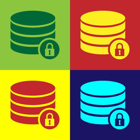 Color Server security with closed padlock icon isolated on color backgrounds. Database and lock. Security, safety, protection concept. Vector Illustration