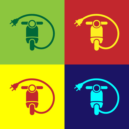 Color Electric scooter icon isolated on color backgrounds. Vector Illustration