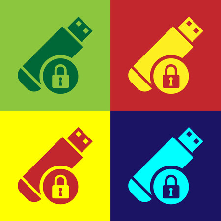 Color USB flash drive with closed padlock icon isolated on color backgrounds. Security, safety, protection concept. Vector Illustration
