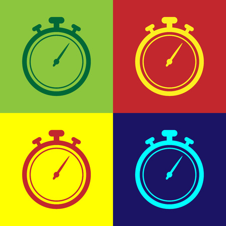 Color Stopwatch icon isolated on color backgrounds. Time timer sign. Chronometer sign. Vector Illustration