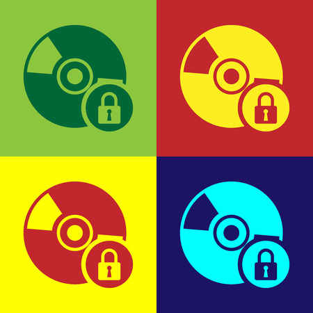 Color CD or DVD disk with closed padlock icon isolated on color backgrounds. Compact disc sign. Security, safety, protection concept. Vector Illustration