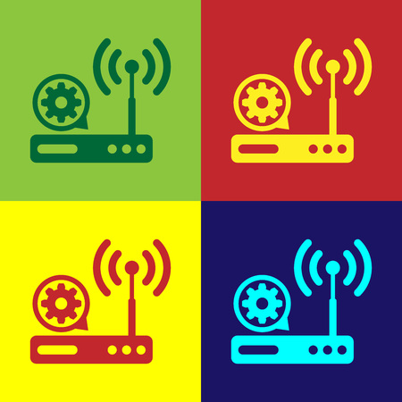 Color Router and wifi signal and gear icon isolated on color backgrounds. Adjusting app, service concept, setting options, maintenance, repair, fixing. Vector Illustration