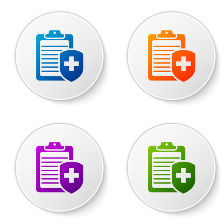 Color Clipboard with medical insurance icon on white background. Patient protection. Clipboard and shield with a cross as a symbol insurance. Set color icon in circle buttons. Vector Illustration 일러스트