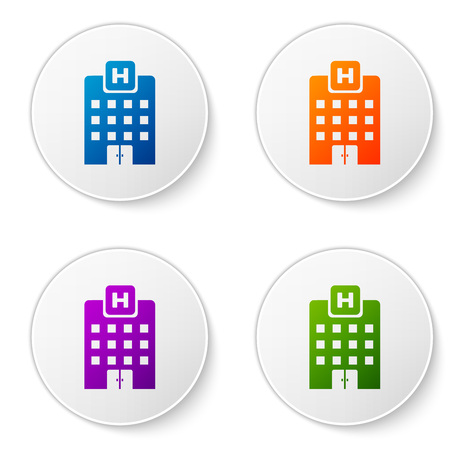 Color Medical hospital building with cross icon isolated on white background. Medical center. Health care. Set color icon in circle buttons. Vector Illustration