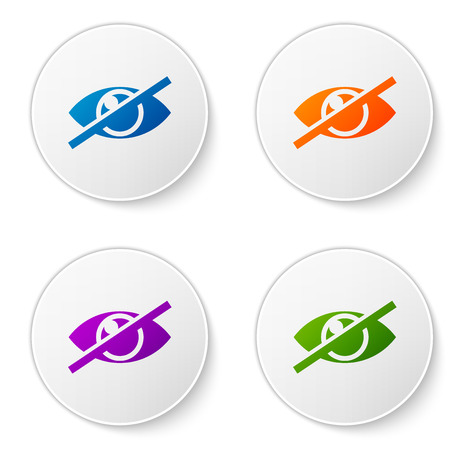 Color Invisible or hide icon isolated on white background. Set color icon in circle buttons. Vector Illustration 向量圖像
