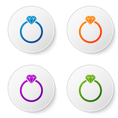 Color Diamond engagement ring icon isolated on white background. Set color icon in circle buttons. Vector Illustration