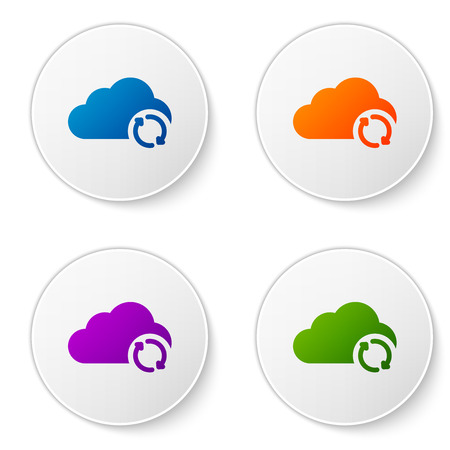 Color Cloud sync refresh icon isolated on white background. Cloud and arrows. Set color icon in circle buttons. Vector Illustration
