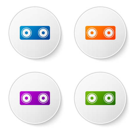 Color Stereo speaker icon isolated on white background. Sound system speakers. Music icon. Musical column speaker bass equipment. Set color icon in circle buttons. Vector Illustration Illustration