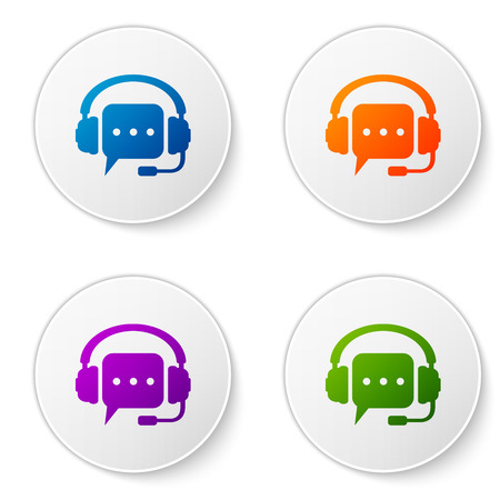 Color Headphones with speech bubble icon on white background. Support customer services, hotline, call center, guideline, maintenance, assistance. Set color icon in circle buttons. Vector Illustration