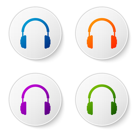 Color Headphones icon isolated on white background. Earphones sign. Concept object for listening to music, service, communication and operator. Set color icon in circle buttons. Vector Illustration Illustration