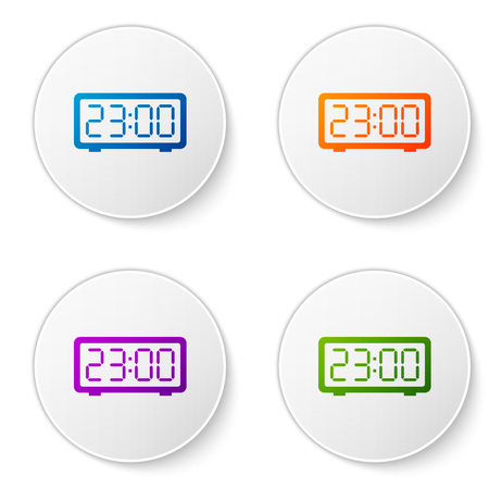 Color Digital alarm clock icon isolated on white background. Electronic watch alarm clock. Time icon. Set color icon in circle buttons. Vector Illustration
