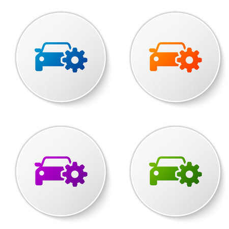 Color Car service icon isolated on white background. Auto mechanic service. Mechanic service. Repair service auto mechanic. Maintenance sign. Set color icon in circle buttons. Vector Illustration