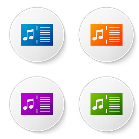 Color Music book with note icon isolated on white background. Music sheet with note stave. Notebook for musical notes. Set color icon in circle buttons. Vector Illustration