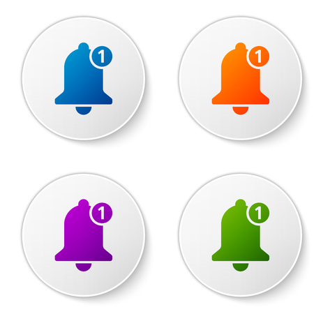 Color Bell icon isolated on white background. New Notification icon. New message icon. Set color icon in circle buttons. Vector Illustration  イラスト・ベクター素材