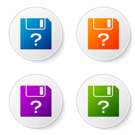 Color Unknown document icon isolated on white background. File with Question mark. Hold report, service and global search sign. Set color icon in circle buttons. Vector Illustration