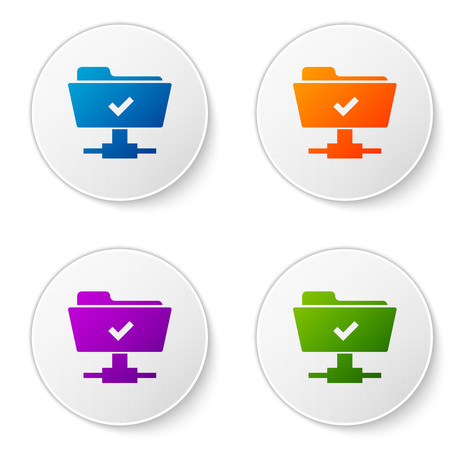Color FTP operation successful icon on white background. Concept of software update, transfer protocol, teamwork tool management, copy process. Set color icon in circle buttons. Vector Illustration Illusztráció