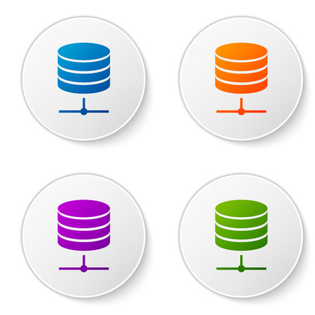 Color Server, Data, Web Hosting icon isolated on white background. Set color icon in circle buttons. Vector Illustration