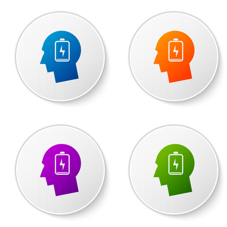 Color Male head with low battery icon isolated on white background. Tired man. Set color icon in circle buttons. Vector Illustration