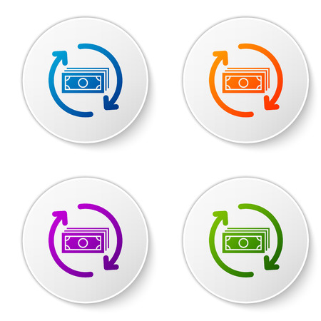 Color Refund money icon isolated on white background. Financial services, cash back concept, money refund, return on investment, savings account. Set color icon in circle buttons. Vector Illustration