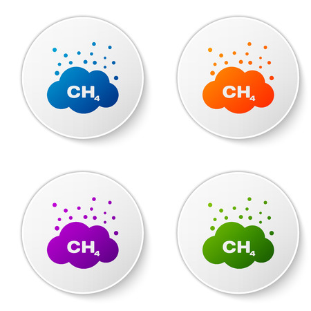 Color Methane emissions reduction icon isolated on white background. CH4 molecule model and chemical formula. Marsh gas. Natural gas. Set color icon in circle buttons. Vector Illustration