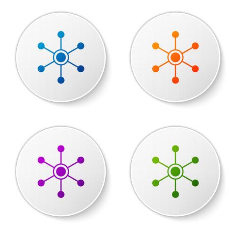 Farbnetzwerksymbol isoliert auf weißem Hintergrund. Globale Netzwerkverbindung. Globale Technologie oder soziales Netzwerk. Punkte und Linien verbinden. Legen Sie das Farbsymbol in den Kreistasten fest. Vektorillustration