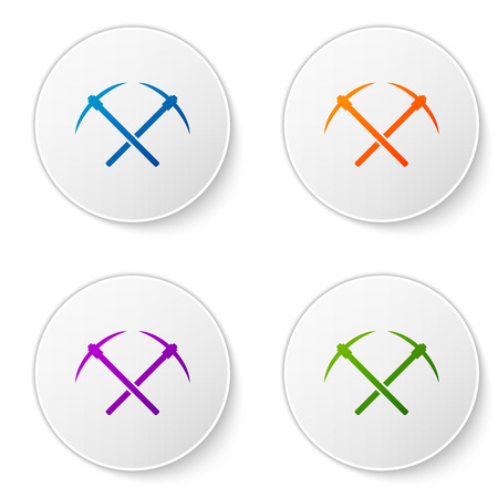 Color Crossed pickaxe icon isolated on white background. Blockchain technology, cryptocurrency mining, bitcoin, altcoins, digital money market. Set icons in circle buttons. Vector Illustration