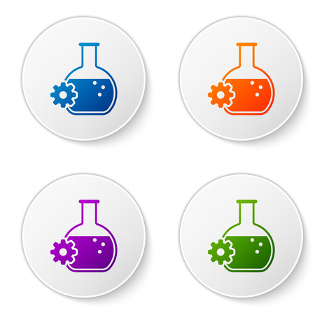 Color Bioengineering icon isolated on white background. Element of genetics and bioengineering icon. Biology, molecule, chemical icon. Set icons in circle buttons. Vector Illustration