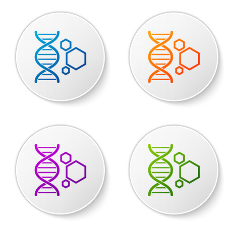 Color Genetic engineering icon isolated on white background. DNA analysis, genetics testing, cloning, paternity testing. Set icons in circle buttons. Vector Illustration Ilustração