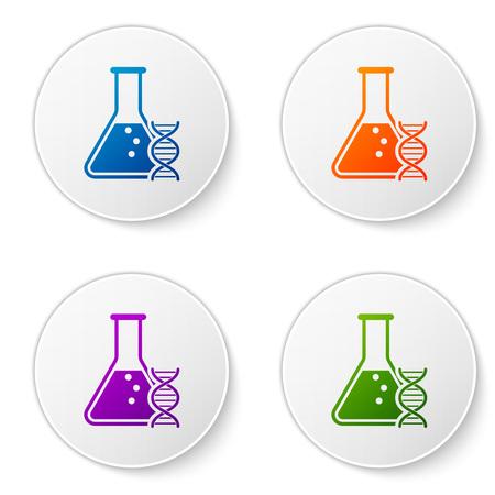 Recherche d'ADN de couleur, icône de recherche isolé sur fond blanc. Génie génétique, tests génétiques, clonage, tests de paternité. Définir des icônes dans les boutons de cercle. Illustration vectorielle Vecteurs