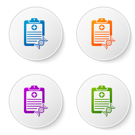 Color Clipboard with DNA analysis icon isolated on white background. Genetic engineering, genetics testing, cloning, paternity testing. Set icons in circle buttons. Vector Illustration Ilustração