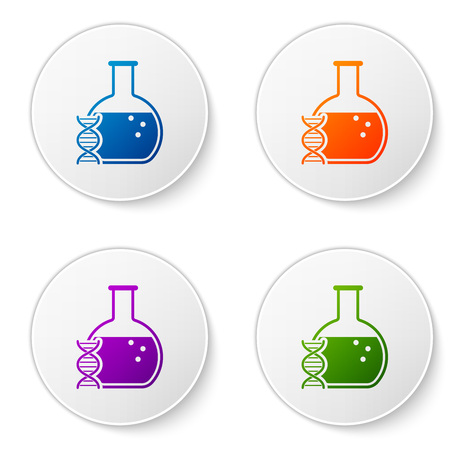 Color DNA research, search icon isolated on white background. Genetic engineering, genetics testing, cloning, paternity testing. Set icons in circle buttons. Vector Illustration