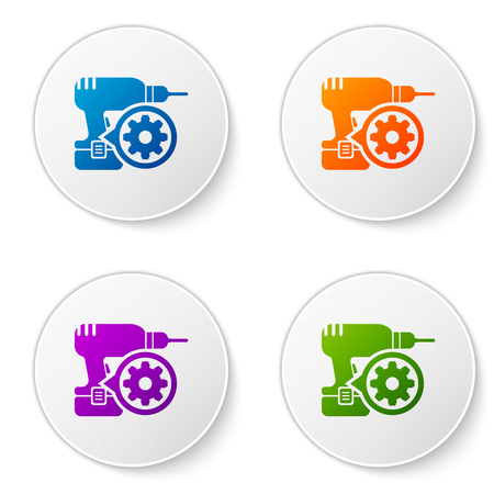 Color Drill machine and gear icon isolated on white background. Adjusting app, service concept, setting options, maintenance, repair, fixing. Set icons in circle buttons. Vector Illustration
