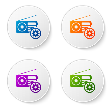 Color Radio with antenna and gear icon isolated on white background. Adjusting app, service concept, setting options, maintenance, repair, fixing. Set icons in circle buttons. Vector Illustration