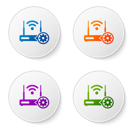 Color Router and wifi signal and gear icon isolated on white background. Adjusting app, service concept, setting options, maintenance, repair, fixing. Set icons in circle buttons. Vector Illustration 向量圖像