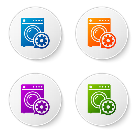 Color Washer and gear icon isolated on white background. Adjusting app, service concept, setting options, maintenance, repair, fixing. Set icons in circle buttons. Vector Illustration Vectores