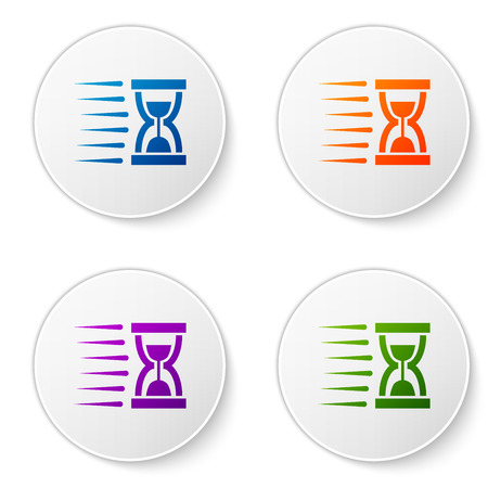Color Old hourglass with flowing sand icon isolated on white background. Sand clock sign. Business and time management concept. Set icons in circle buttons. Vector Illustration