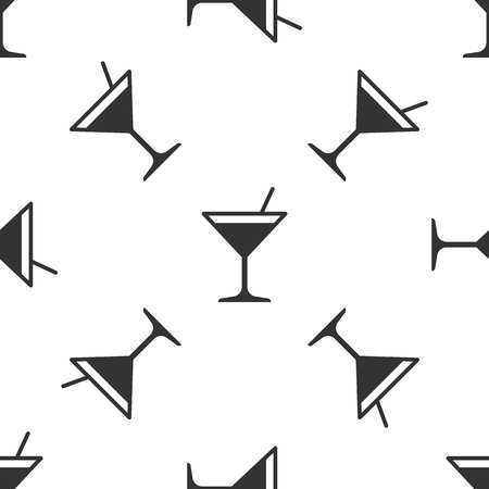 Grey Martini glass icon isolated seamless pattern on white background. Cocktail icon. Wine glass icon. Vector Illustration Illustration