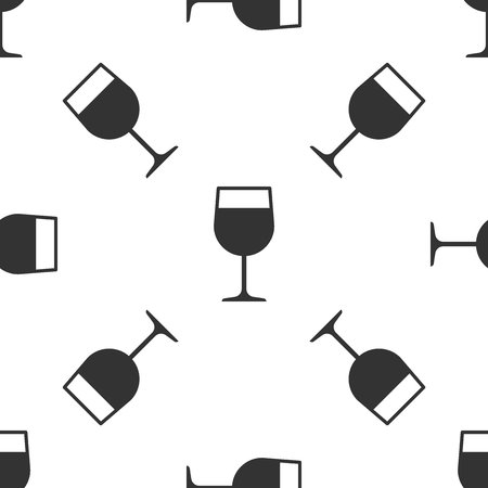 Grey Wine glass icon isolated seamless pattern on white background. Wineglass icon. Goblet symbol. Glassware sign. Vector Illustration